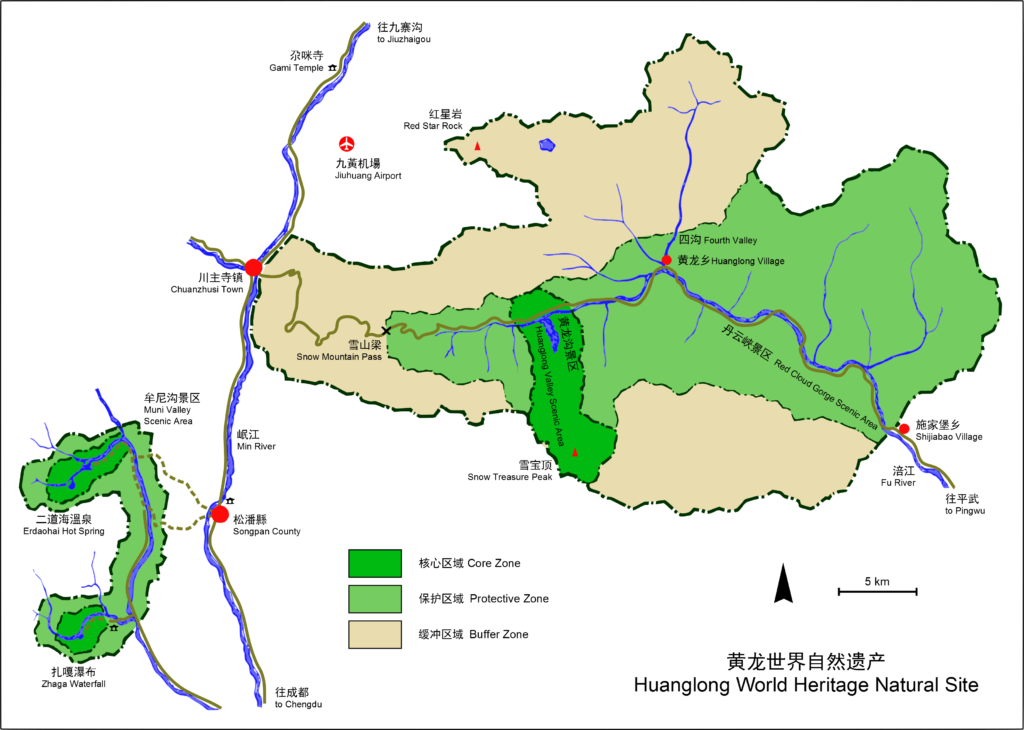 huanglong world heritage site map